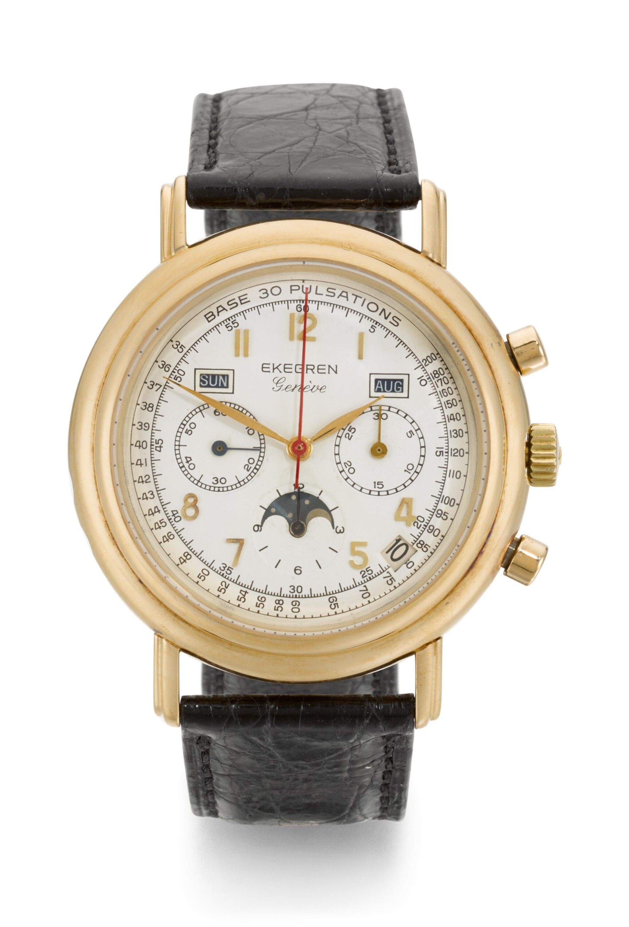 View full screen - View 1 of Lot 14. EKEGREN | YELLOW GOLD CHRONOGRAPH WRISTWATCH WITH DAY, DATE, MONTH AND MOON-PHASES, CIRCA 1990.
