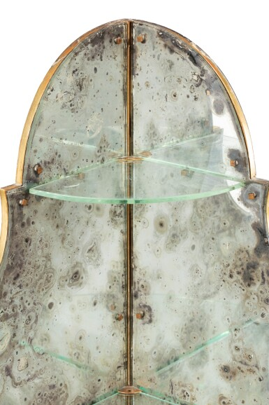 A PAIR OF LOUIS XV STYLE EBONISED, GILT-BRONZE AND MIRROR CORNER CUPBOARDS, BY MAISON JANSEN, 20TH CENTURY  [PAIRE D'ENCOIGNURES À GRADIN EN PLACAGE DE BOIS NOIRCI, BRONZE DORÉ ET MIROIRS DE GOÛT LOUIS XV, PAR LA MAISON JANSEN, XXE SIÈCLE]