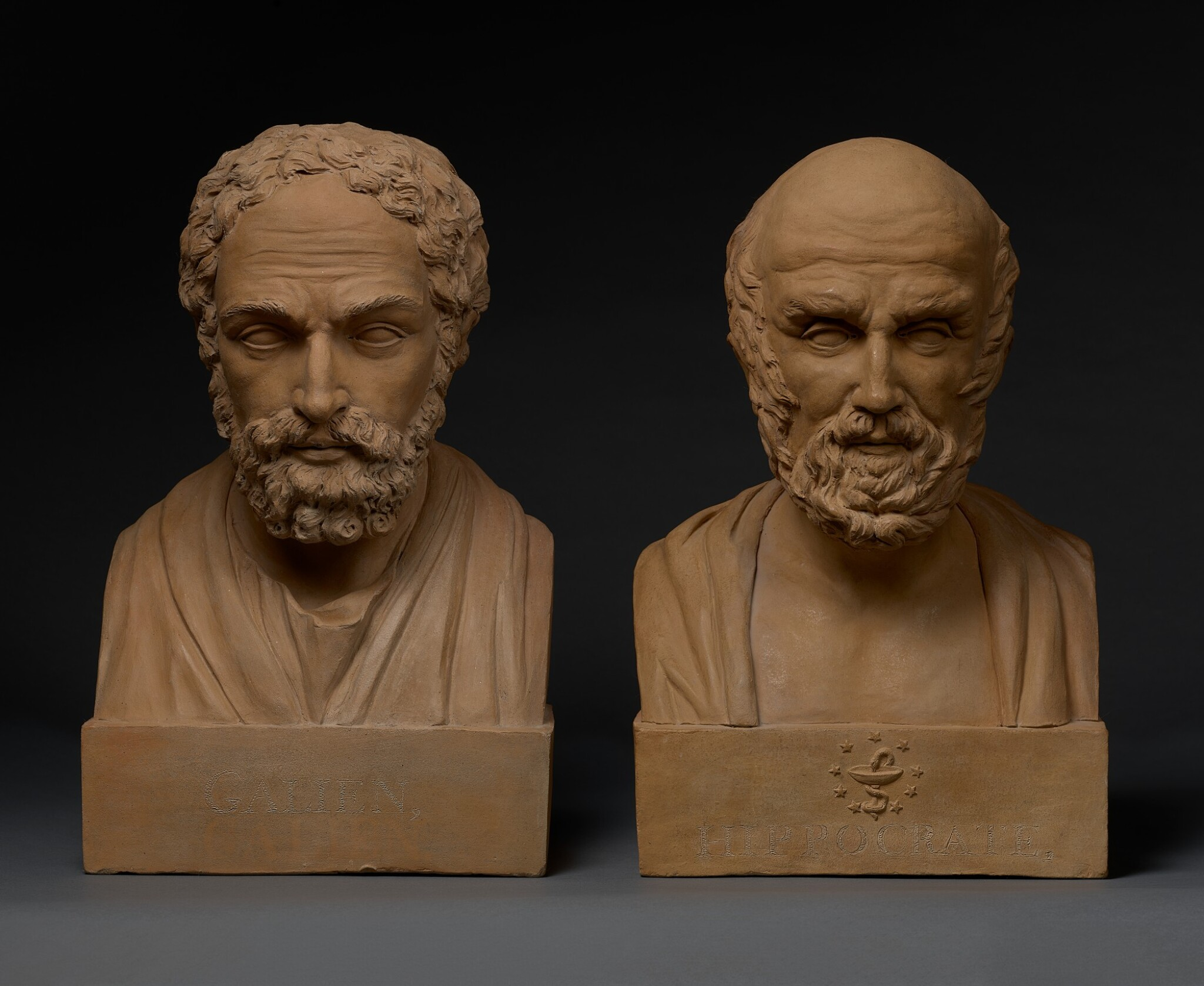 View full screen - View 1 of Lot 10. FRANCE   PAIR OF BUSTS OF GALEN AND HIPPOCRATES.