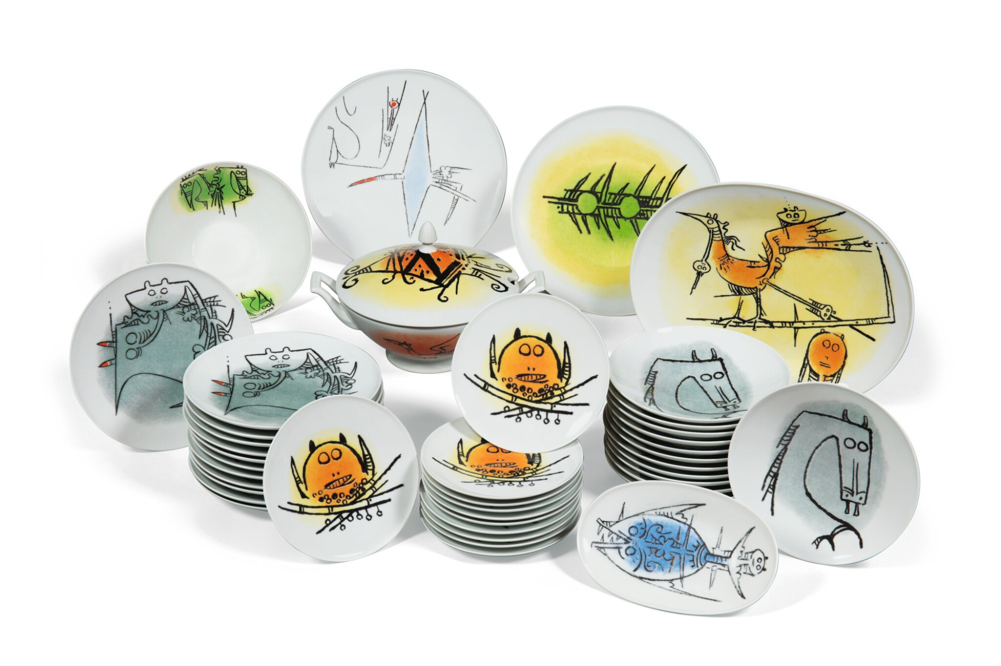 View full screen - View 1 of Lot 108. WIFREDO LAM   DINNER SERVICE SET  [SERVICE DE TABLE].