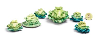 View 3. Thumbnail of Lot 157. FOUR PAIRS (JACOB PETIT FACTORY) CABBAGE-FORM PORCELAIN BOXES AND COVERS, CIRCA 1830-1850.