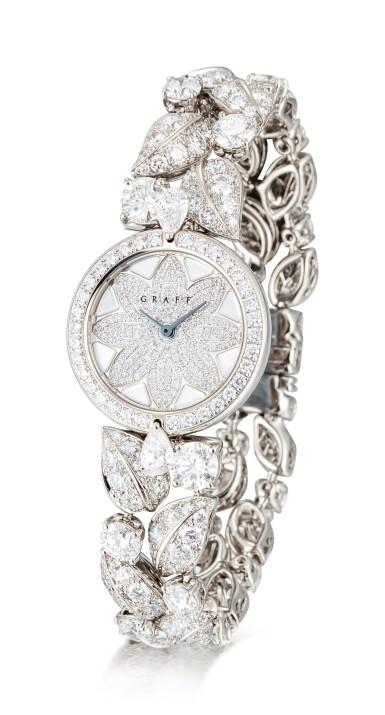 View 2. Thumbnail of Lot 1057. 'Graff Leaf' Reference GL25WGDDDD, Limited Edition White Gold and Diamond-Set Wristwatch, Number 1   格拉夫  Graff Leaf編號GL25WGDDDD,限量版白金鑲鑽石腕表,編號1,約2010年製.