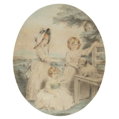 View 1. Thumbnail of Lot 203. A group portrait of Lady Honora Elizabeth Hester Lambart (1784-1856), Lady Sophia Augusta Lambart (1787-1798), Lady Alicia Margaretta Hockmore Lambart (1785-1818) and their dog.