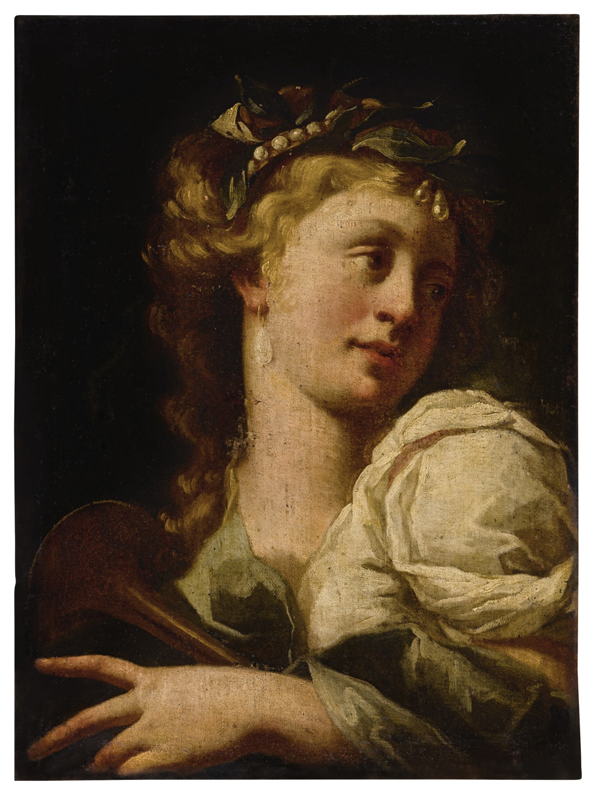 View full screen - View 1 of Lot 19. Sold Without Reserve | NORTH ITALIAN SCHOOL, 17TH CENTURY | PORTRAIT OF A LADY, BUST LENGTH, PLAYING A MUSICAL INSTRUMENT.