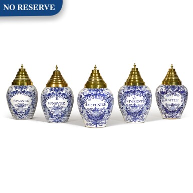 View 1. Thumbnail of Lot 7. A set of five Delft blue and white tobacco jars with brass covers, circa 1760, De Vergulde Blompot Factory.