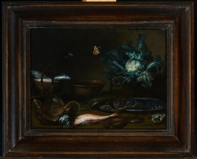 View 2. Thumbnail of Lot 80. ATTRIBUTED TO OTTO MARSEUS VAN SCHRIECK   Kitchen still life with fish, a lobster, and a cauliflower all on a table top, with a butterfly and a dragonfly.