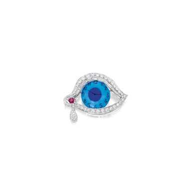 ENAMEL, DIAMOND AND RUBY 'EYE OF TIME' BROOCH, HENRYK KASTON FOR SALVADOR DALÍ | 琺瑯彩配鑽石及紅寶石「時間之眼」別針,Henryk Kaston為薩爾瓦多・達利設計
