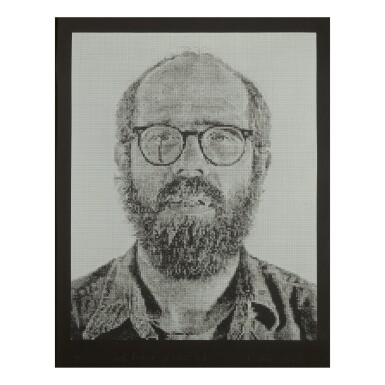 CHUCK CLOSE | SELF PORTRAIT/WHITE INK