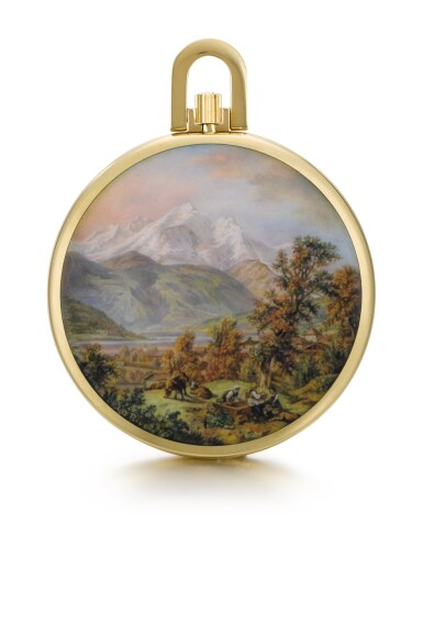 View 1. Thumbnail of Lot 1. A UNIQUE AND VERY FINE GOLD OPEN-FACED KEYLESS LEVER WATCH WITH POLYCHROME ENAMEL PAINTED SCENE BY SUZANNE ROHR 1969, REF. 715/18, MOVEMENT NO. 893323 CASE NO. 432832 [百達翡麗獨特黃金懷錶,飾SUZANNE ROHR彩繪琺瑯畫,1969年製,編號715/18,機芯編號893323,錶殼編號432832].