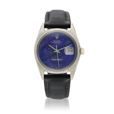 View 1. Thumbnail of Lot 18. Reference 1601 Datejust  A white gold automatic wristwatch with date and lapis lazuli dial, Circa 1977 .