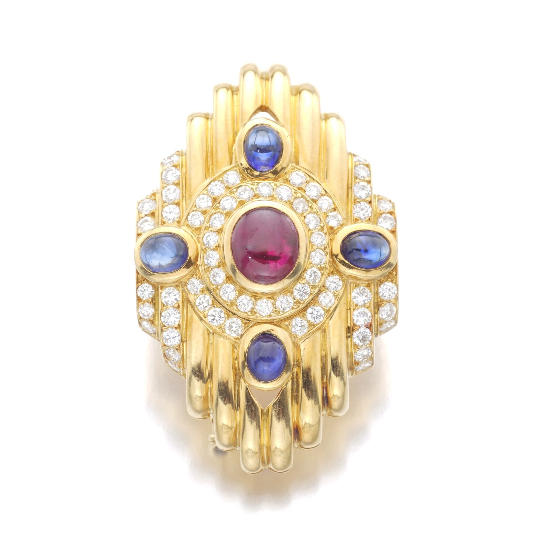 View full screen - View 1 of Lot 78. BOUCHERON   RUBY, SAPPHIRE AND DIAMOND BROOCH.