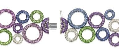 View 4. Thumbnail of Lot 11. Gem set and diamond bracelet, 'Bubbles', Michele della Valle.