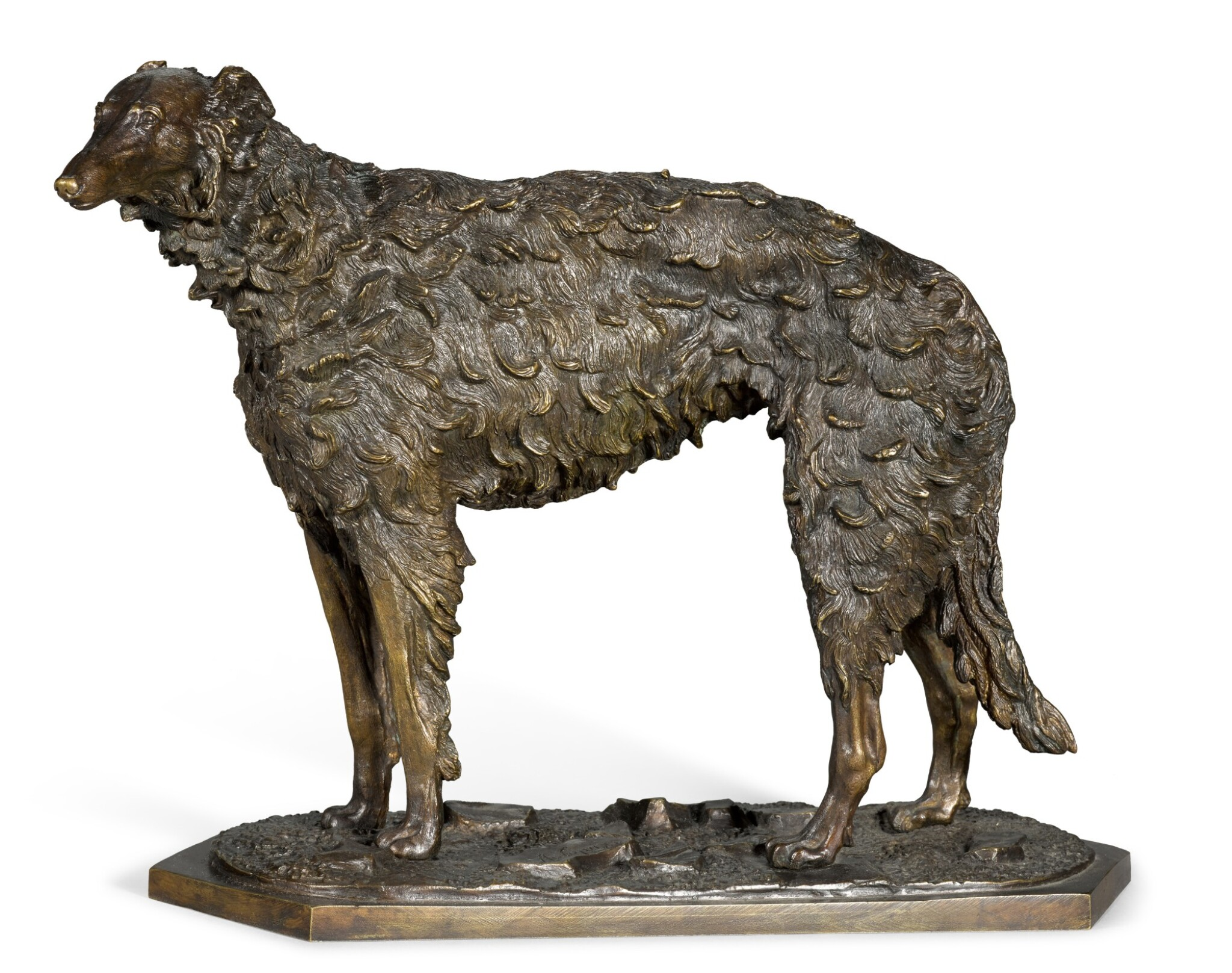 View full screen - View 1 of Lot 294. Standing Borzoi: a bronze figure, after the model by Nikolai Lieberich (1828-1883), late 19th century.