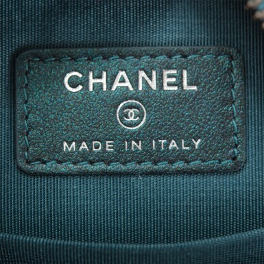 View 8. Thumbnail of Lot 118. Chanel Iridescent Dark Turquoise Caviar Round Mini Crossbody Bag.
