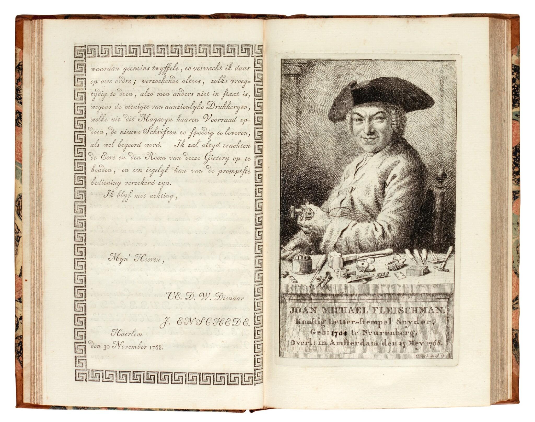 View full screen - View 1 of Lot 113. Enschede, Proef van letteren, Haarlem, 1768, contemporary half calf.