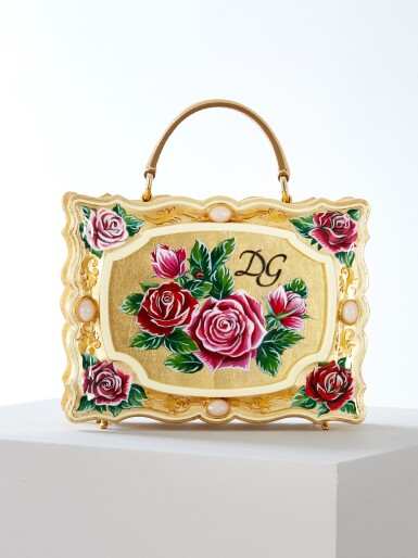 View 4. Thumbnail of Lot 43. Enamel Flower Embellished Limited Edition Box Bag in Golden Hand-Painted Wood with Vintage Plated Brass Hardware, Spring/Summer 2021.