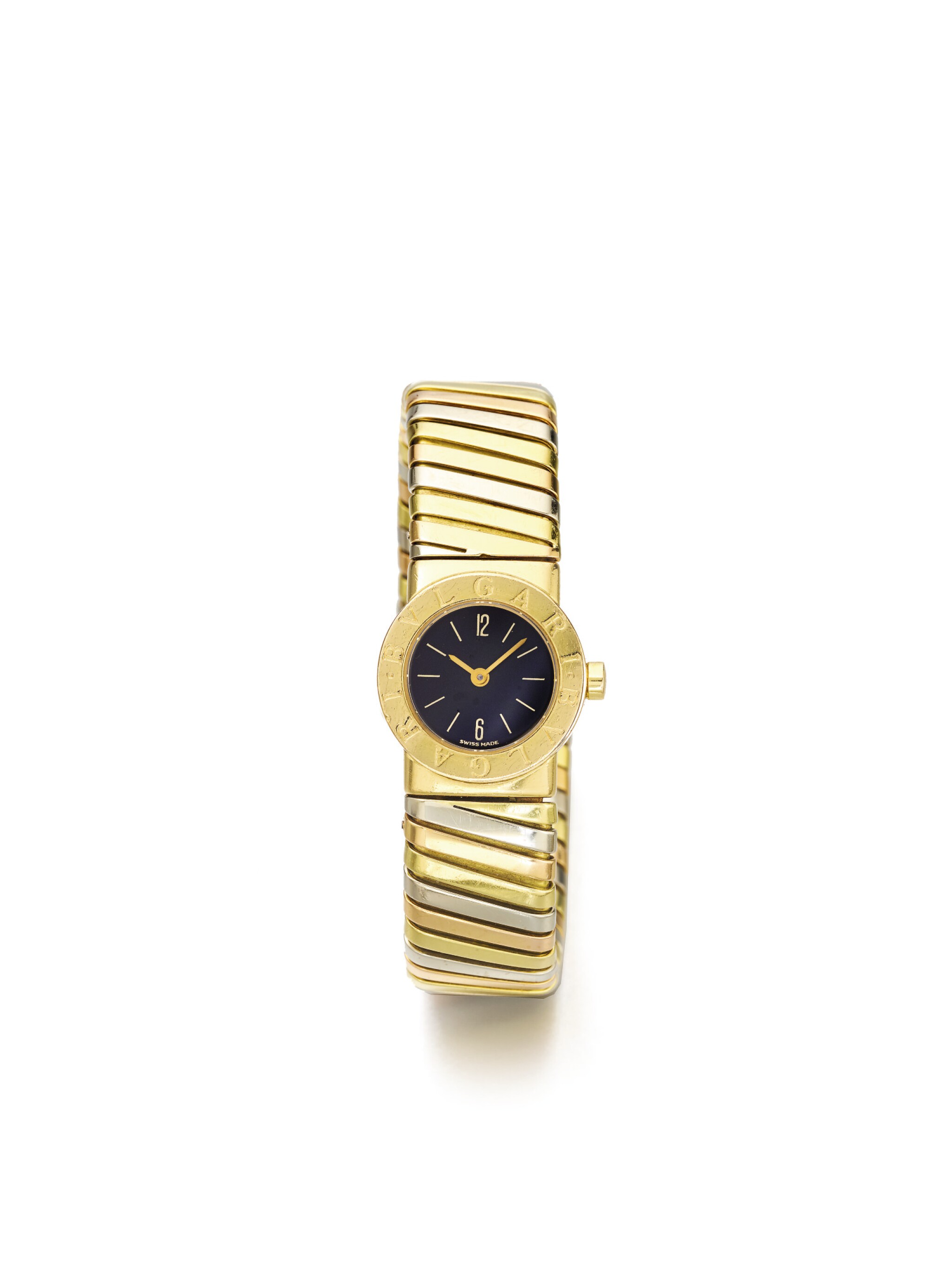 View full screen - View 1 of Lot 43. BULGARI   REF BB 19 2T A LADY'S TRI COLOR GOLD TUBOGAS CUFF WATCH CIRCA 1985.