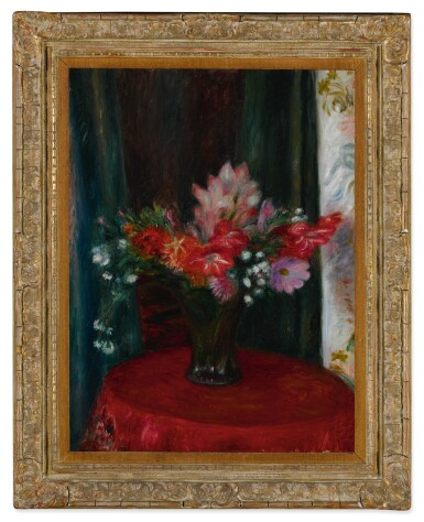 View 2. Thumbnail of Lot 117. Bouquet on Red Tablecloth.