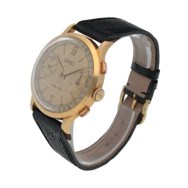 View 2. Thumbnail of Lot 182. EXTRA-FORT, REF 1603 PINK GOLD MONO PUSHER CHRONOGRAPH WRISTWATCH WITH START/STOP SLIDE CIRCA 1940.