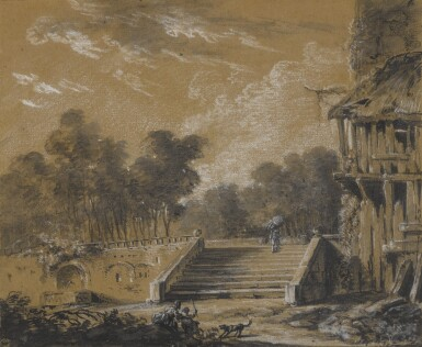 View 2. Thumbnail of Lot 154. A landscape with a figure ascending stairs.
