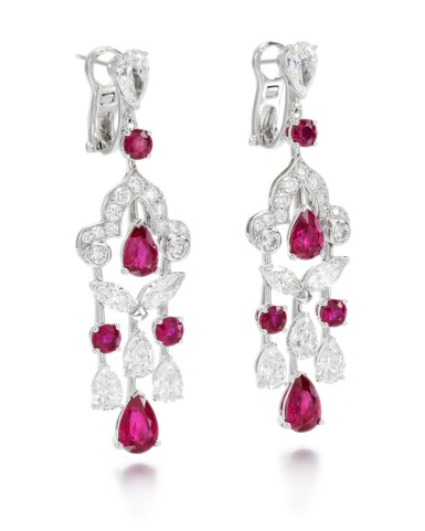 View 2. Thumbnail of Lot 202.  GRAFF | PAIR OF RUBY AND DIAMOND EARRINGS.