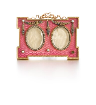 View 1. Thumbnail of Lot 238. A Fabergé gold, enamel and pearl miniature frame, workmaster Victor Aarne, St Petersburg, 1899-1904.