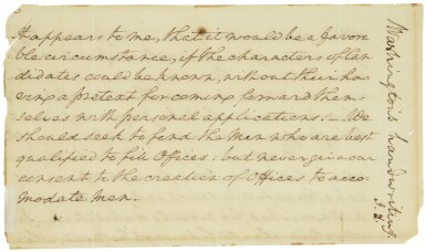 View 2. Thumbnail of Lot 2164. Washington, George. Autograph manuscript fragment from his undelivered first Inaugural Address.