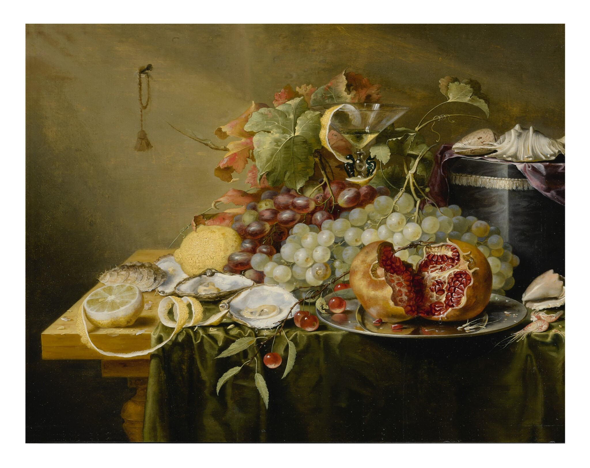 View full screen - View 1 of Lot 127. LAURENS CRAEN  |  A STILL LIFE WITH A POMEGRANATE AND OTHER FRUITS, OYSTERS, SHRIMPS AND SHELLS ON A VELVET BOX ON A TABLE.