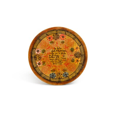 View 10. Thumbnail of Lot 1. A set of twelve Elizabethan polychrome decorated sycamore roundels, late 16th/early 17th century.