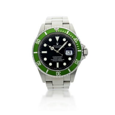 View 1. Thumbnail of Lot 97. REFERENCE 16610LV SUBMARINER 'KERMIT' A STAINLESS STEEL AUTOMATIC WRISTWATCH WITH DATE AND BRACELET, CIRCA 2003.