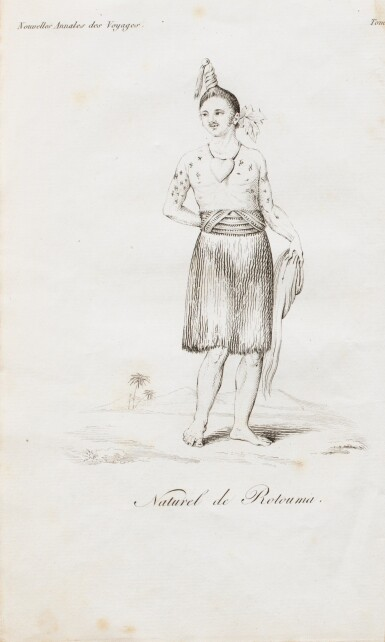 View 1. Thumbnail of Lot 32. LESSON. Notice sur l'île de Rotouma, 1825. brochure in-8, cousue, sous étui moderne..