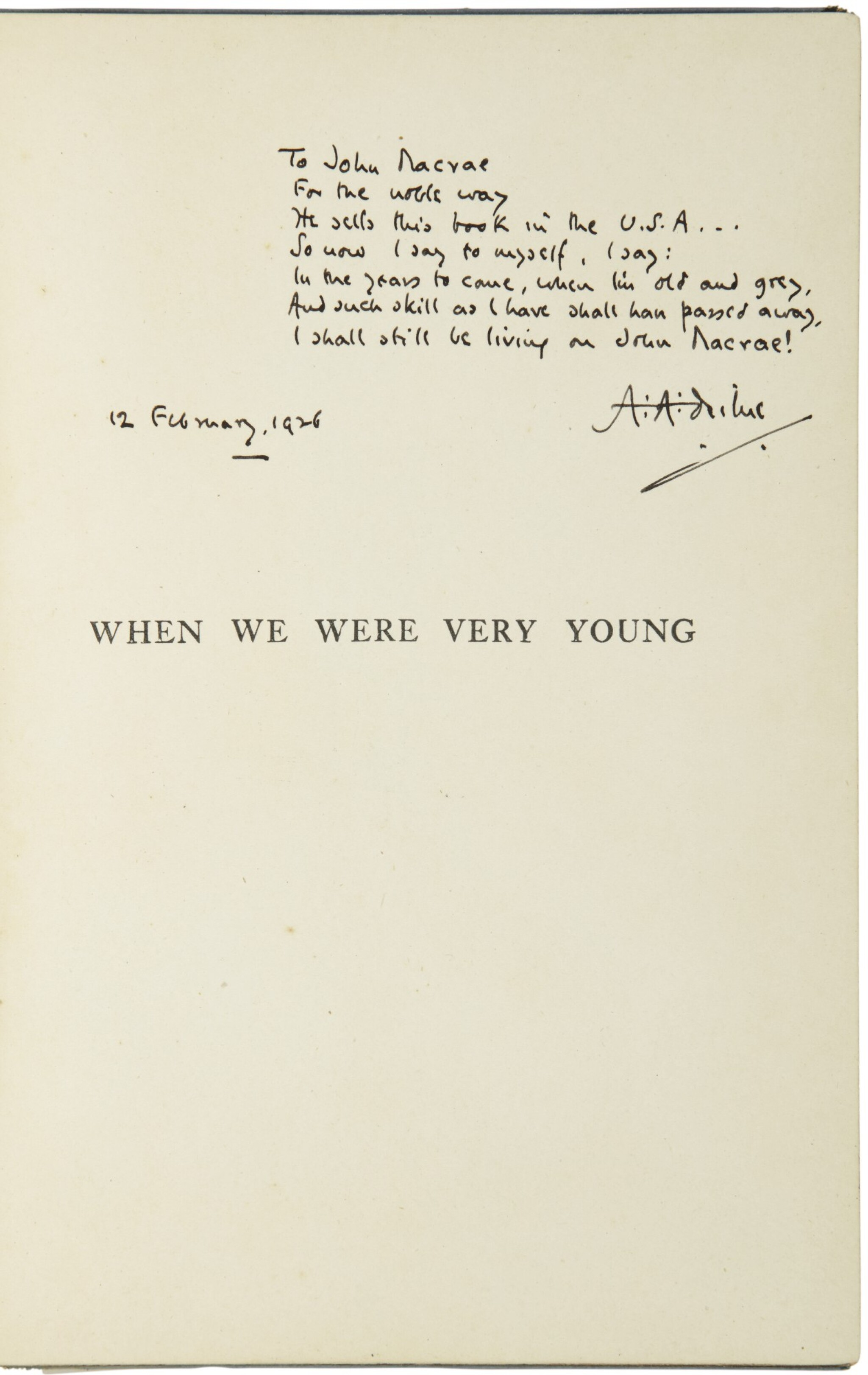 View full screen - View 1 of Lot 162. MILNE, A.A.   When We Were Very Young. London, Methuen, (1925, tenth edition).
