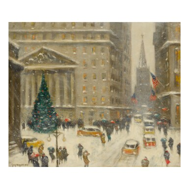 View full screen - View 1 of Lot 69. GUY CARLETON WIGGINS | YULETIDE AT BROAD AND WALL STREETS.