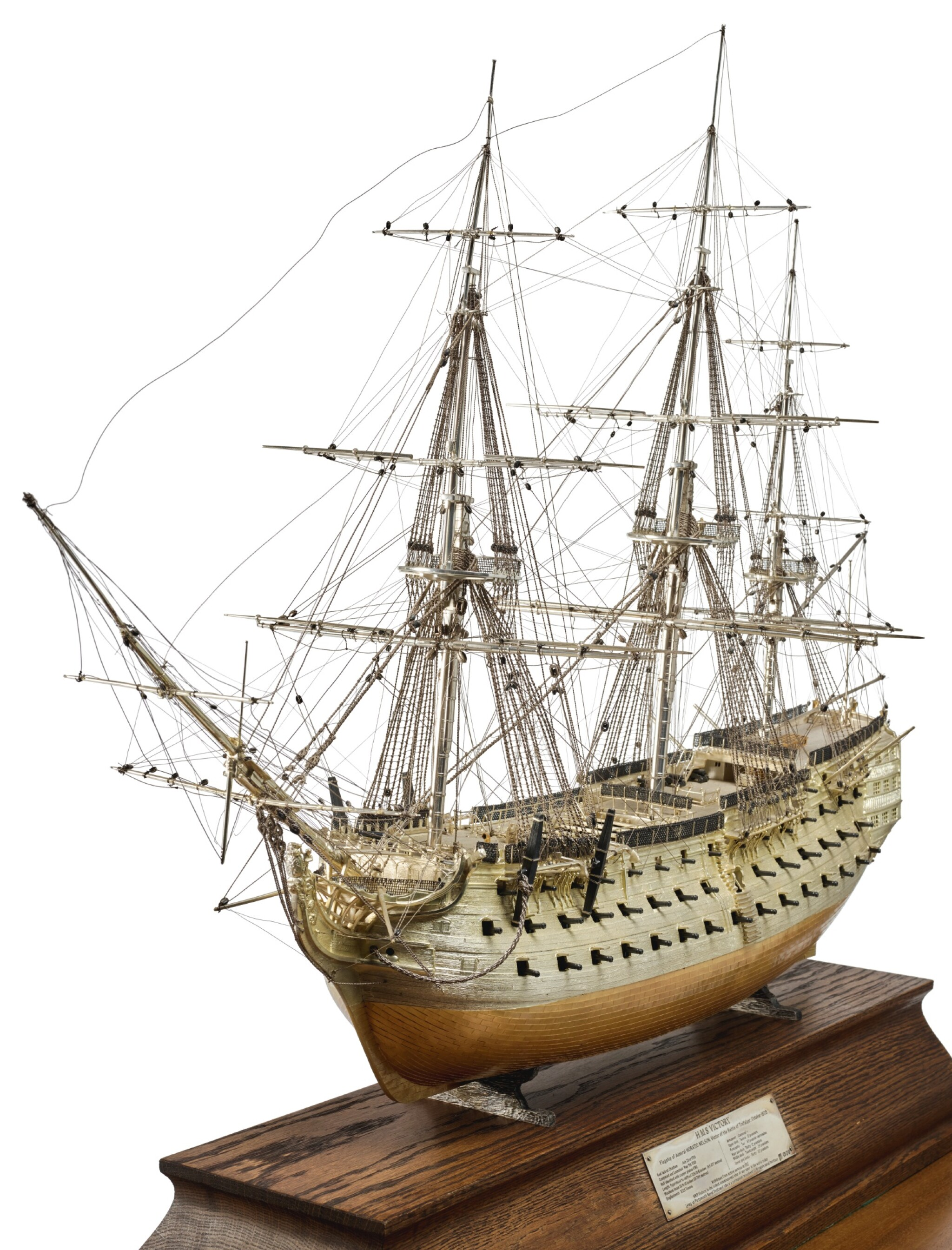 View full screen - View 1 of Lot 151. A FINE ELIZABETH II PARCEL-GILT SILVER SCALE MODEL OF THE H.M.S VICTORY, DAVID SHAW SILVERWARE LTD. FOR ASPREY & CO., LONDON, 1988.
