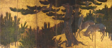 ANONYMOUS, MOMOYAMA-EDO PERIOD, LATE 16TH-EARLY 17TH CENTURY | DEER BENEATH PINE TREES