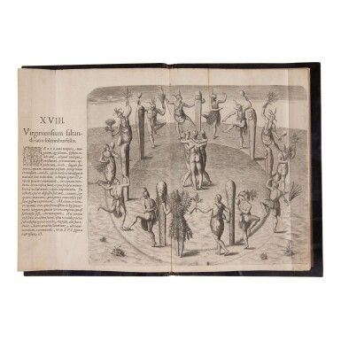 View 2. Thumbnail of Lot 132. De Bry, Theodor, and Johann Theodor and Johann Israel de Bry   A magnificent set of the Great American Voyages in Latin.