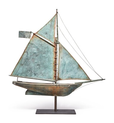 American Sheet Copper and Zinc Gaff Rigged Sloop Weathervane, 20th century