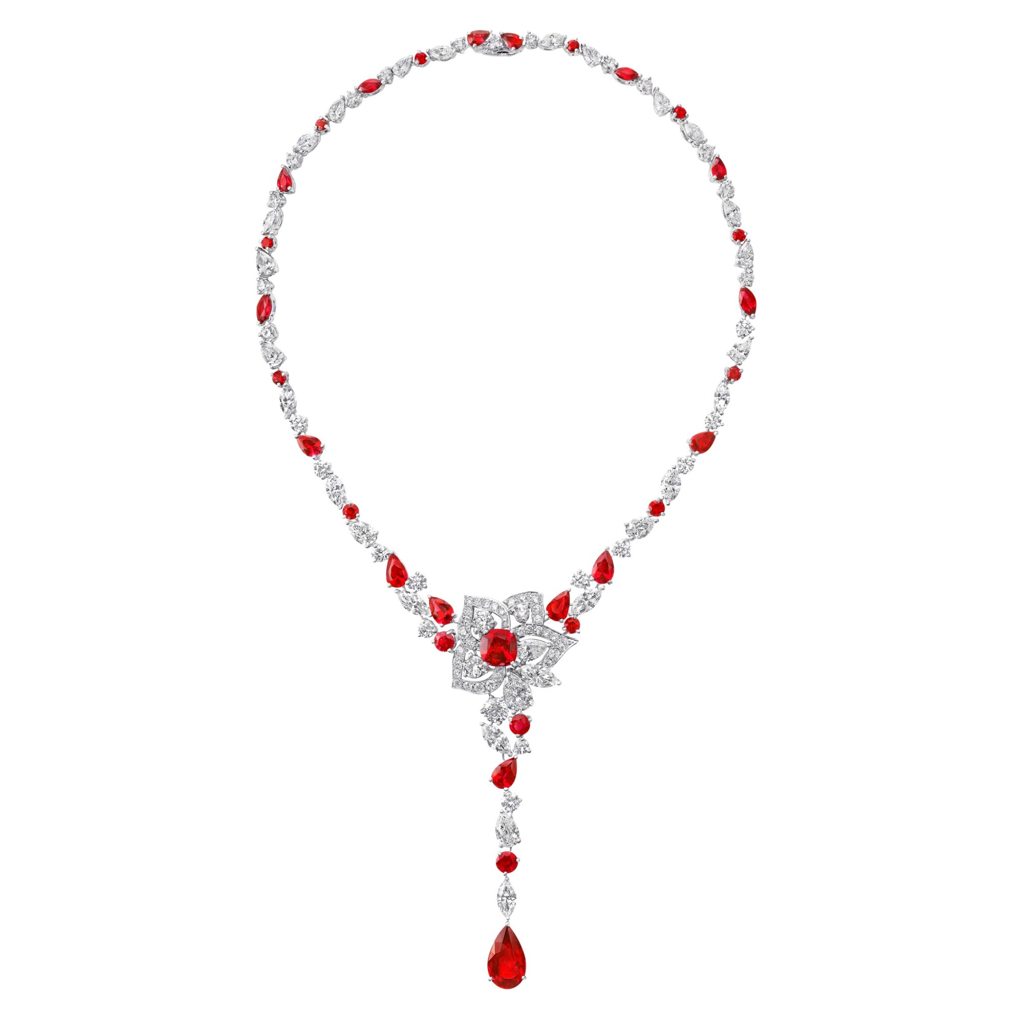 View full screen - View 1 of Lot 19. GRAFF   RUBY AND DIAMOND NECKLACE.