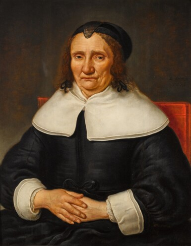 DIRK DRUYF | Portrait of an elderly woman, half-length, wearing a black satin dress with a white collar, cuffs, and a black bonnet