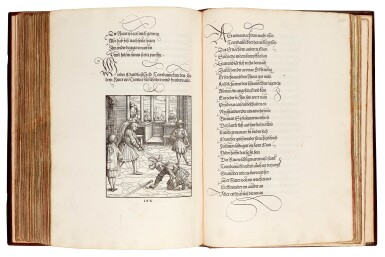 View 5. Thumbnail of Lot 145. Pfintzing, Tewrdannckhs, [Nuremberg, 1517], contemporary stamped calf over wooden boards.
