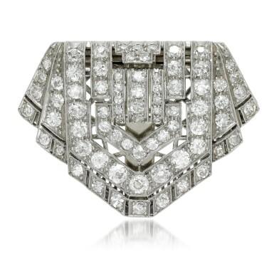View 1. Thumbnail of Lot 124. Diamond clip-brooch, 1920s.
