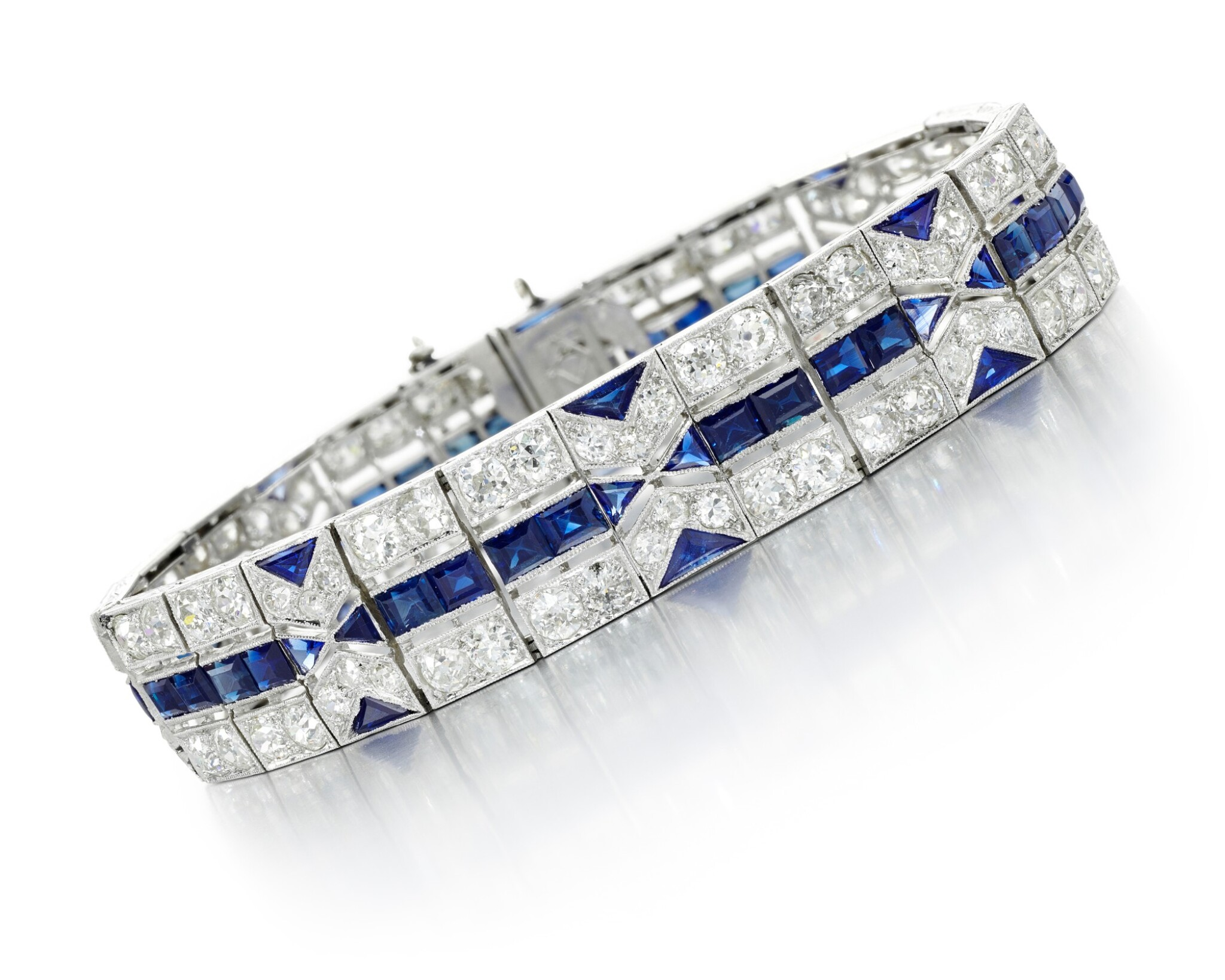 View full screen - View 1 of Lot 210. SAPPHIRE AND DIAMOND BRACELET.