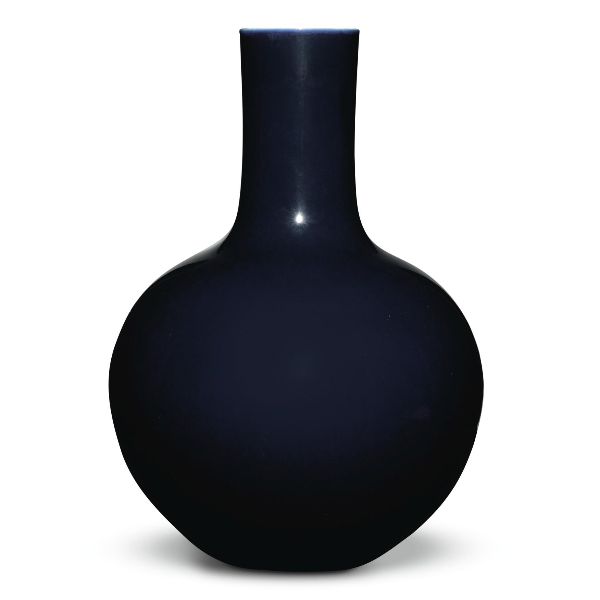 View full screen - View 1 of Lot 149. A large dark-blue-glazed vase, tianqiuping, Qianlong seal mark and period   清乾隆 藍釉天球瓶  《大清乾隆年製》款.