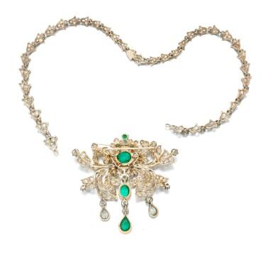 View 5. Thumbnail of Lot 6. Emerald and diamond pendant-necklace (Collana con pendente in smeraldi e diamanti), 1890.