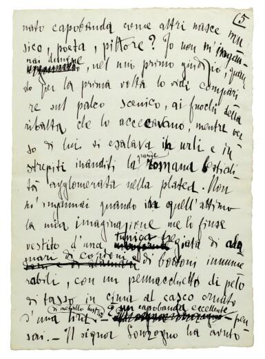 """[P. Mascagni]. Autograph manuscript of G. D'Annunzio's article """"Il capobanda"""", denigrating Mascagni, 1892"""