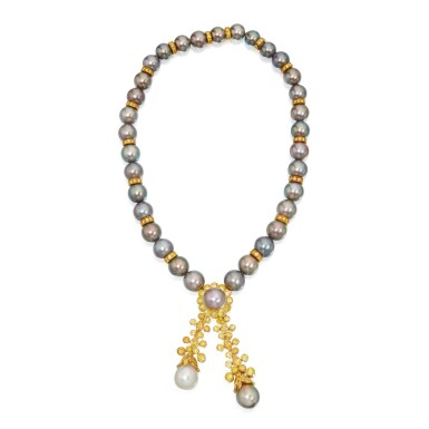 CULTURED PEARL AND COLORED DIAMOND NECKLACE, VAN CLEEF & ARPELS
