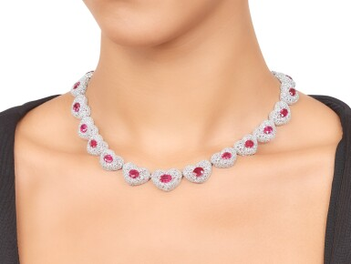 View 3. Thumbnail of Lot 424. Michele della Valle | Ruby and Diamond 'Cuori' Necklace.