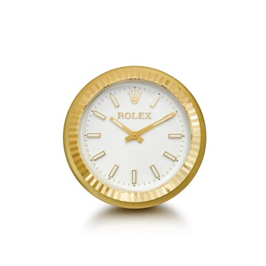 View 1. Thumbnail of Lot 2003. ROLEX, MANUFACTURED BY INDUCTA  |  A LARGE GILT BRASS WALL CLOCK, CIRCA 2010 | 勞力士,由Inducta製造 | 鍍金銅製掛鐘,外殼編號080612,約2010年製.