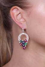 Pair of emerald, ruby, sapphire and diamond earrings, Michele della Valle