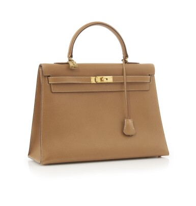 Leather and gold plated hardware handbag, Kelly 35 , Hermès, 1986